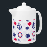 """Nautical Fun on Blue Teapot<br><div class=""""desc"""">Adorable anchors,  fish,  and life preserver rings on a fun background of pale blue dots</div>"""