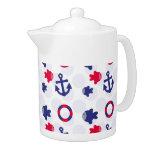 Nautical Fun on Blue Teapot
