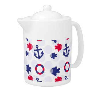 Nautical Fun on Blue Teapot
