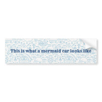 Nautical funny mermaid light blue bumper sticker