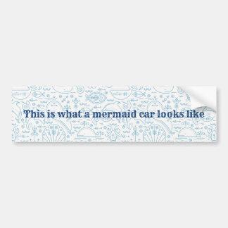 Nautical funny mermaid light blue bumper sticker