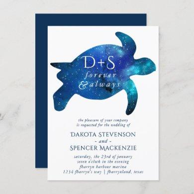 Nautical Galaxy Sea Turtle | Monogram Wedding Invitation