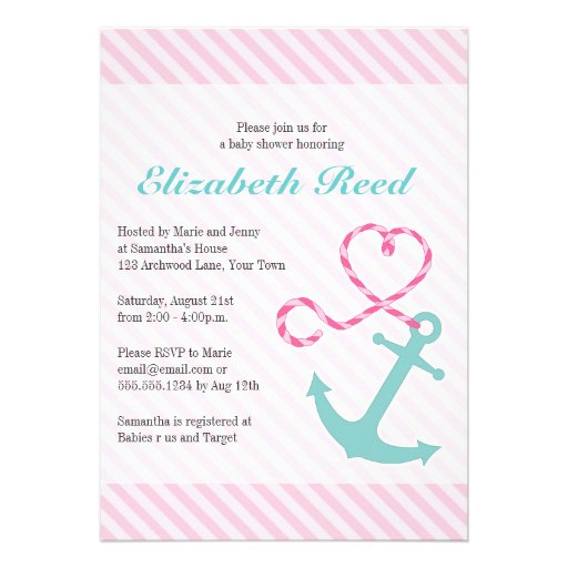 nautical girl baby shower anchor w heart rope invitations