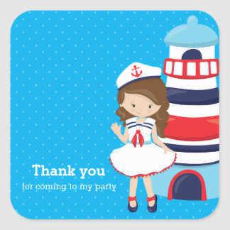 Nautical girl * choose your background color square sticker