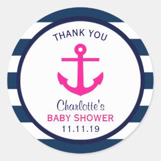 Nautical GIRL Hot Pink Navy Blue Baby Shower Favor Classic Round Sticker