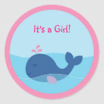 Nautical Girl Whale Envelope Seals Stickers