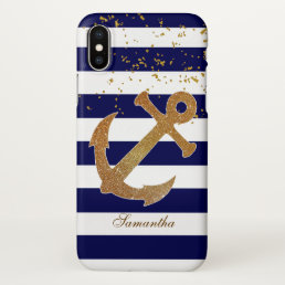 Nautical Gold Anchor iPhone X Case