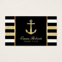 Nautical Gold Anchor Modern Stripes Business Card