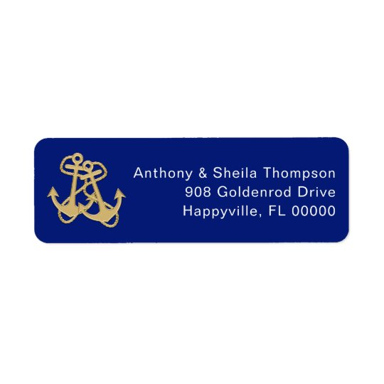 nautical gold anchor navy blue address labels zazzle com