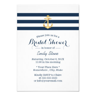 Nautical Gold Anchor Navy Stripes Bridal Shower Card