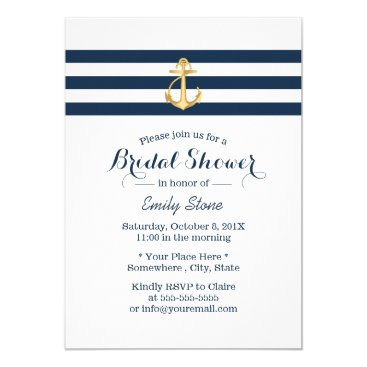 myinvitation Nautical Gold Anchor Navy Stripes Bridal Shower Card