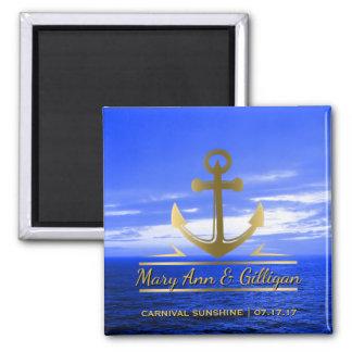 Nautical Gold Anchor Ocean Cruise Wedding Favor Magnet