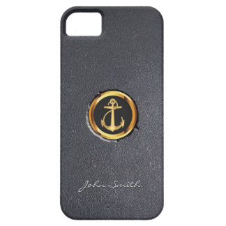Nautical Gold Anchor Ring Embed Dark iPhone 5 Case