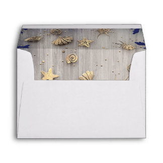 Nautical Gold and Navy Wedding Envelope