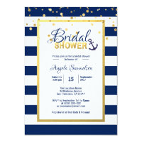 Navy bridal shower invitations announcements zazzle nautical gold navy blue stripes bridal shower filmwisefo Images