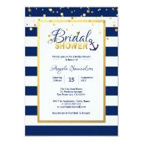 Nautical Gold Navy Blue Stripes Bridal Shower Card