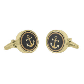 Nautical Gold Rope and Anchor Gold Cufflinks