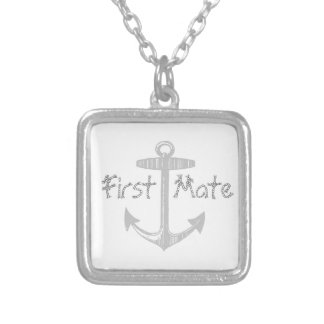 Nautical Gray Anchor Silver Plated Necklace
