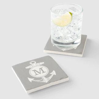 Nautical Gray Anchor Stone Coaster