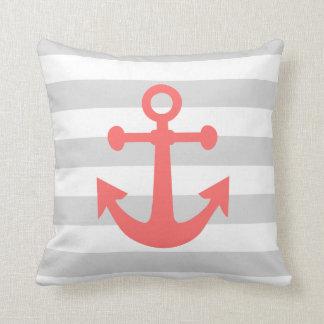 Nautical Gray Stripes Coral Anchor Throw Pillow