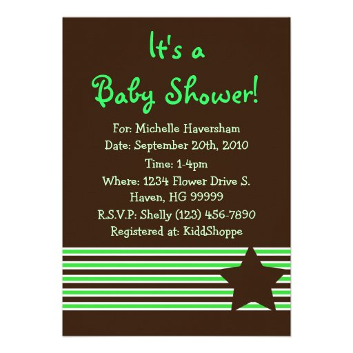 Nautical Green and Brown Baby Shower Invitation