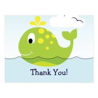 Nautical Green and Yellow Whale Thank You Postcard