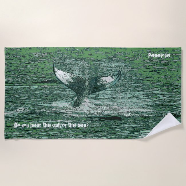 Nautical Green Sea Whale Tail with Text and Name