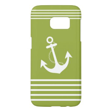 Beach Themed Nautical Green White Stripe Design Samsung Galaxy S7 Case