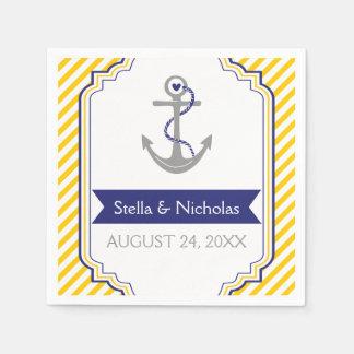 Nautical grey anchor navy blue, yellow wedding napkin