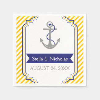 Nautical grey anchor navy blue, yellow wedding paper napkin