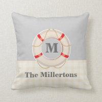 Nautical Grey Red Ship Buoy Monogram Throw Pillow