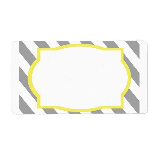 Nautical Grey Stripes Border Label