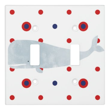 Beach Themed Nautical Grey Watercolor Whale Red Blue Name Light Switch Cover
