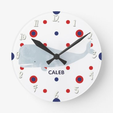 Beach Themed Nautical Grey Watercolor Whale Red Blue Name Round Clock