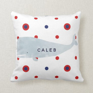 Beach Themed Nautical Grey Watercolor Whale Red Blue Name Throw Pillow