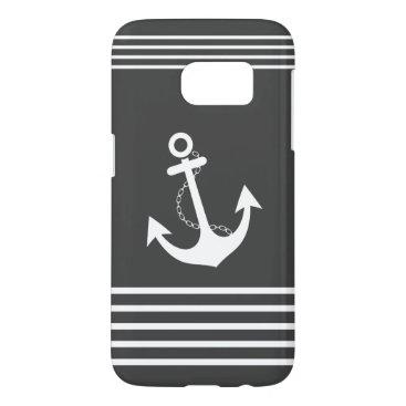 Beach Themed Nautical Grey White Stripe Design Samsung Galaxy S7 Case