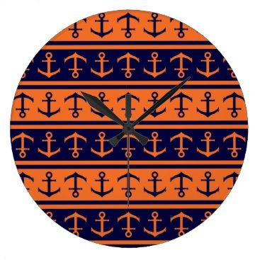 Halloween Themed Nautical Halloween pattern Large Clock