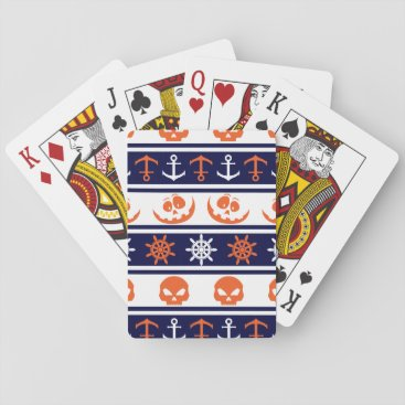 Halloween Themed Nautical Halloween pattern Playing Cards