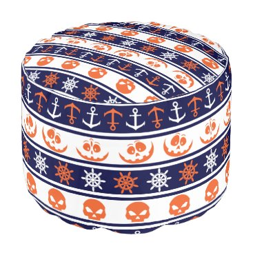 Halloween Themed Nautical Halloween pattern Pouf