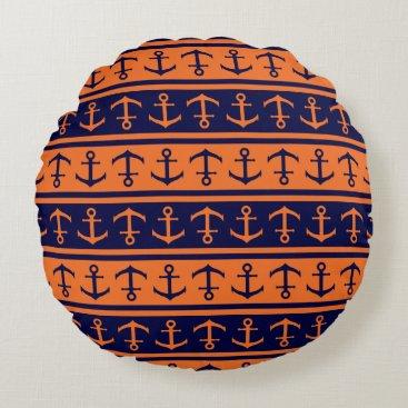 Halloween Themed Nautical Halloween pattern Round Pillow
