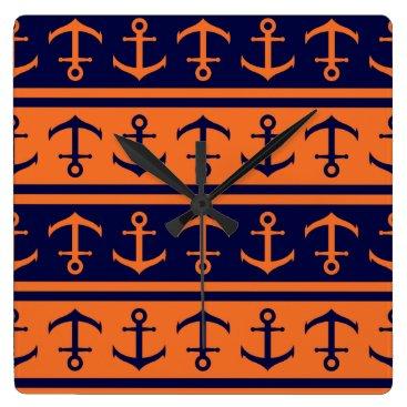 Halloween Themed Nautical Halloween pattern Square Wall Clock