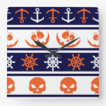 Nautical Halloween pattern Square Wall Clock