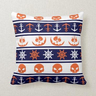 Halloween Themed Nautical Halloween pattern Throw Pillow