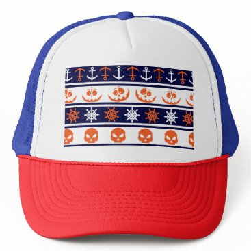 Halloween Themed Nautical Halloween pattern Trucker Hat