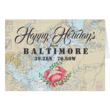 Beach Themed Nautical Happy Holidays from Baltimore Card