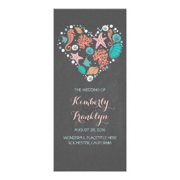 Beach Themed Nautical Heart Beach Wedding Programs