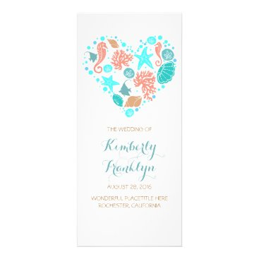 Beach Themed Nautical Heart Beach White Wedding Programs
