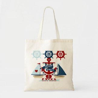 Nautical Hello Sailor Anchor Sail Boat Design Tote Bag