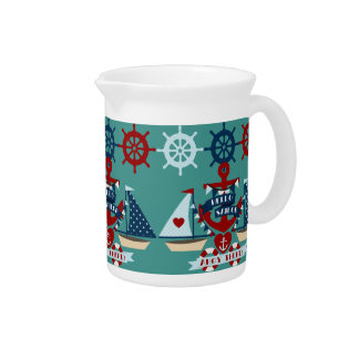 Nautical Hello Sailor Anchor Sail Boat Design Beverage Pitcher