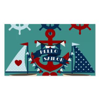 Nautical Hello Sailor Anchor Sail Boat Design Business Card